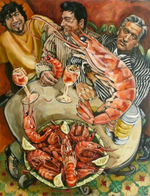 Men With Prawns (2004) 162 x 130 cm