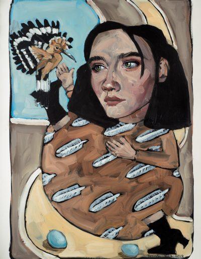 Hoopoe Bird (2018) Oil on Paper