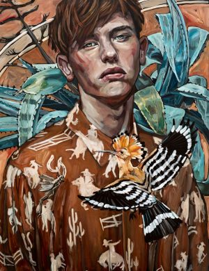 Man with Hoopoe Bird (2017) Acrylic on Canvas