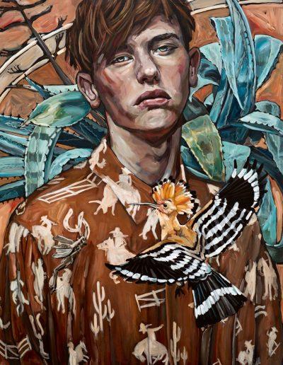 Man with Hoopoe Bird (2017) Acrylic on Canvas