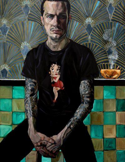 Man with Orange Ashtray (2018) Oil on Canvas